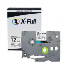 Fita rotuladora compatível Brother TZe-FX231 12MMx8M Preto/Branco - X-Full