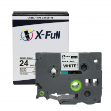 Fita compatível Brother TZe-FX251 24MMx8M Preto no Branco - X-Full