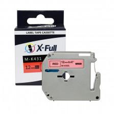 Fita para rotulador compatível M-k431 12mmX8m Preto/Vermelho - XFULL