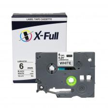 Fita rotuladora compatível Brother TZe-211 6MMx8M  Preto no Branco- X-Full