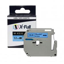 Fita para rotulador M-k531 12mmX8m Preto/Azul Compatível - XFULL