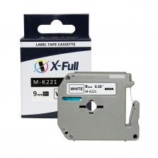 Fita para rotulador M-k221 9mmX8m Preto/Branco Compativel - XFULL