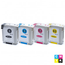KIT CARTUCHO HP 82 PRETO 69ML, 82 CIANO 69ML, 82 MAGENTA 69ML E 82 AMARELO 69ML