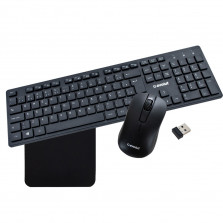 Kit Teclado e Mouse Sem Fio + Mouse Pad