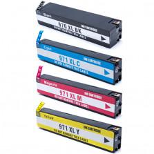 KIT CARTUCHO HP 970XL 255ML, 971XL CIANO 70ML, 971XL AMARELO 70ML, 971XL MAGENTA 70ML COMPATIVEL