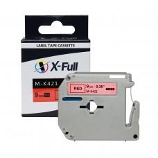 Fita para rotulador M-k421 9mmX8m Preto/Vermelho Compativel - XFULL