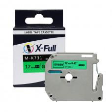 Fita rotuladora compatível M-k731 12mmX8m Preto/Verde - XFULL