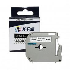 Fita rotuladora compatível M-k131 12mmX8m Preto no Transparente - XFULL
