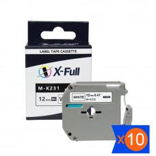 Kit Fita compatível M-K231 M231 PT-80 12mmx8m Preto no Branco - XFULL